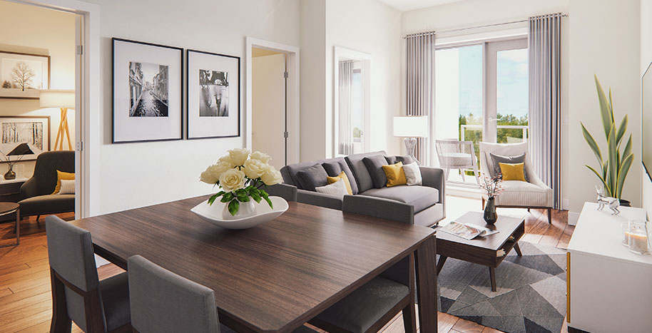 Canoe Bay Living Room Example: 3D visualization of a modern apartment at Canoe Bay